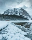 Lake Louise cabin, Banff National Park, Canadian Rockies, Winter season, beautiful landscape,Travel Alberta, Canada,frozen scenery stock photography