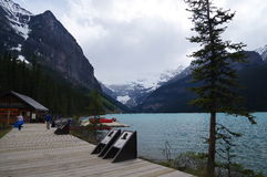 LAKE LOUISE, CANADA - MAY 28, 2016: View of the famous lake Louise. Lake Louise is the second most-visited destination in the Banf Royalty Free Stock Images