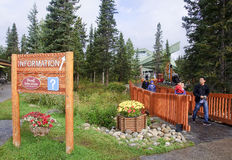 LAKE LOUISE, CANADA - SEPTEMBER 6, 2016: The village center with Stock Photo