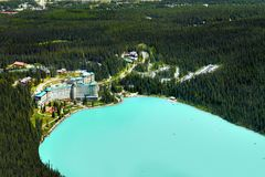 Lake Louise, Canadian Rockies, Scenic Aerial View. Beautiful aerial view on Lake Louise with the Fairmont Chateau in Canadian Rockies. Alberta scenic landscape royalty free stock photo