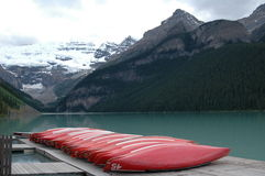 Lake Louise Canoe Dock Stock Photos