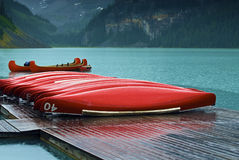 Lake Louise Canoes Royalty Free Stock Image