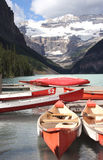 Lake Louise canoes Canada. Lake Louise canoes in the Canadian Rockies, Banff National Park Royalty Free Stock Photo