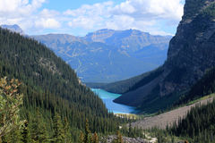 Lake Louise and the Chateau Lake Louise seen from the Plain of the Six Glaciers hiking trail Stock Photography