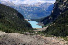 Lake Louise and the Chateau Lake Louise seen from the Plain of the Six Glaciers hiking trail royalty free stock photo