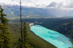 Lake Louise da sopra 1 fotografia stock libera da diritti