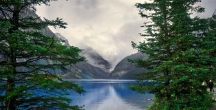 Lake Louise, Alberta, framed by trees Stock Images