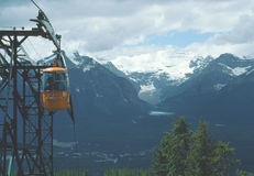 Lake Louise Gondola View, Alberta, Canada. Gondola view of the Rocky Mountains and Lake Louise nestled below them in the distance Royalty Free Stock Photos
