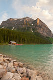 Lake Louise with hut Royalty Free Stock Photos