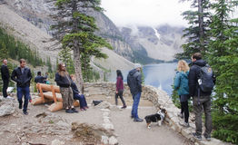 LAKE LOUISE KANADA - SEPTEMBER 4, 2016: Morän sjön lokaliseras Arkivbild