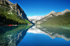 Lake Louise mountain lake panorama Royalty Free Stock Photo