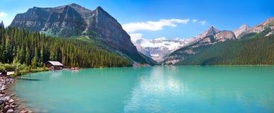 Lake Louise panorama. Panorama of Lake Louise mountain lake in Alberta, Canada royalty free stock photo