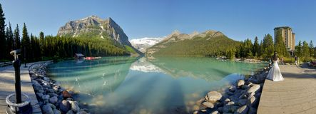 Lake Louise panorama, Alberta Stock Photo