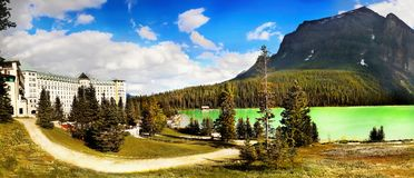 Lake Louise Panorama, Canadian Rockies. Lake Louise and Chateau panoramic view. Banff National Park. Canadian Rockies. Alberta Canada stock image