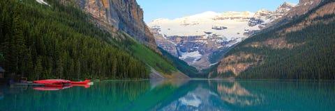 Lake Louise, Red Canoe, Banff National Park Royalty Free Stock Photography