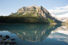 Lake Louise Reflection Mountain Stock Photo