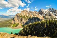 Lake Louise and Saddleback Mountain from the summit of Big Beehi Stock Image