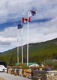 Lake Louise Ski Resort, Flags, Banff National Park, Canada stock photography
