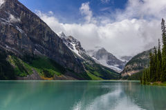 Lake Louise and snowy mountain in Banff national park Stock Photography