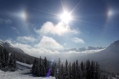 Lake Louise sundog 库存照片