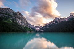 Lake Louise at sunset in Banff National Park, Canada Royalty Free Stock Photos