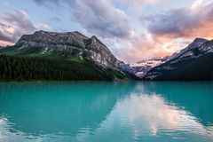 Lake Louise at sunset in Banff National Park, Canada Royalty Free Stock Photo