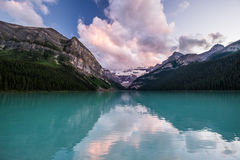 Lake Louise at sunset in Banff National Park, Canada Royalty Free Stock Photography