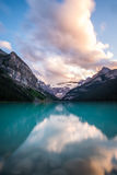 Lake Louise at sunset in Banff National Park, Canada Royalty Free Stock Images