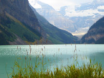 Lake Louise wth glaciers in background. The clear green-blue glacial waters of Lake Louise provide a calm foreground to the mountains and glaciers appearing in royalty free stock photo