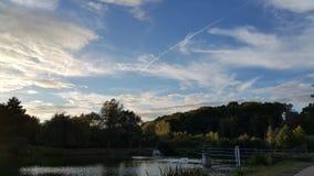 The Lake in Louvain La Neuve. The lake of Louvain La Neuve and the blue sky Stock Image