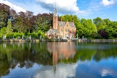 Lake of Love in summer, Bruges, Belgium royalty free stock images