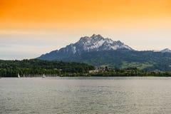 Lake Lucerne royaltyfria foton