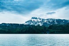 Lake Lucerne in Beckenried - Vitznau, Lucerne, Switzerland. Lake Lucerne in rainy day, Beckenried - Vitznau, Lucerne, Switzerland Royalty Free Stock Photos