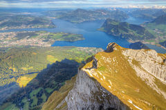 Lake Lucerne mountain view ,. Lake Lucerne framed by high alpine mountains on a summer day, Switzerland Stock Photo