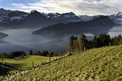 Lake Lucerne from Mt Rigi railway Stock Photography
