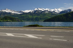 Lake Lucerne and road stock photo
