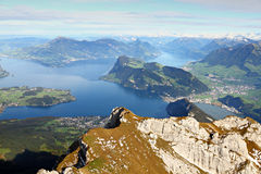 Lake Lucerne seen from mountain,. Lake Lucerne framed by high alpine mountains on a summer day, Switzerland Stock Photos