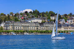 Lake Lucerne in spring, view from the city of Lucerne Royalty Free Stock Images