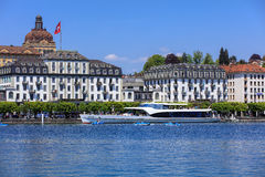 Lake Lucerne in spring, view from the city of Lucerne Royalty Free Stock Photo