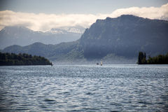 Lake Lucerne. A suggestive view of the lake of Lucerne at dawn Stock Image