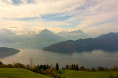 Lake Lucerne and Swiss Alps stock image
