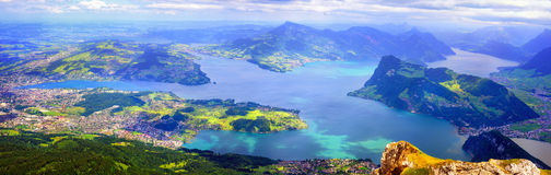 Lake Lucerne, Swiss Alps mountains, Switzerland. Panoramic view of Lake Lucerne with Lucerne town, Kussnacht, Burgenstock resort and Rigi Mountain, swiss Alps Stock Photo