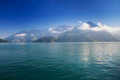 Lake Lucerne and Swiss mountains in Swiss Knife valley in Brunnen, Switzerland stock photo