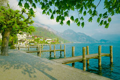 Lake Lucerne, Switzerland. Weggis wooden piers over maintains Stock Photo