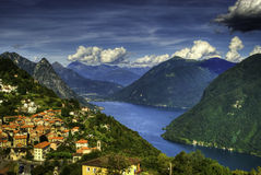 lake lugano Royaltyfria Foton