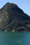 Lake of Lugano and mount San Salvatore Royalty Free Stock Photography
