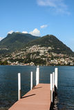 Lake Lugano and Mt. Bre Stock Image