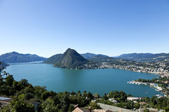 Lake Lugano, panoramic view Royalty Free Stock Images