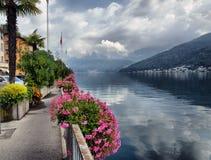 Lake Lugano in Switzerland. Embankment of Lake Lugano in Switzerland Royalty Free Stock Photography