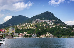 lake lugano switzerland Arkivfoton